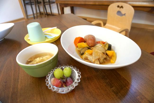 釧路のキッチンスタジオ「tanomana.studio」ママのためのKid'sルーム付きパン教室の昼食
